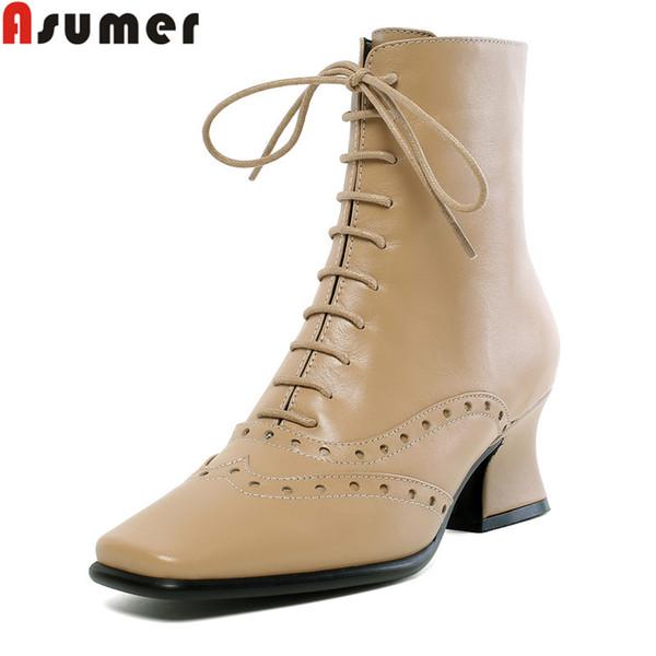 ASUMER tamanho grande 34-43 moda botas de couro genuíno mulheres toe quadrado zip senhoras ankle boots cross amarrado clássico prom das mulheres