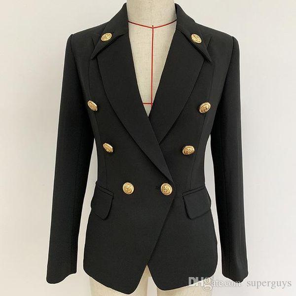 Klasik Kadın Slim Fit Coat Suits Siyah Blazers Sonbahar Kış Business Suit Marka Tasarım Kruvaze Metal toka Bayan Giyim 1920