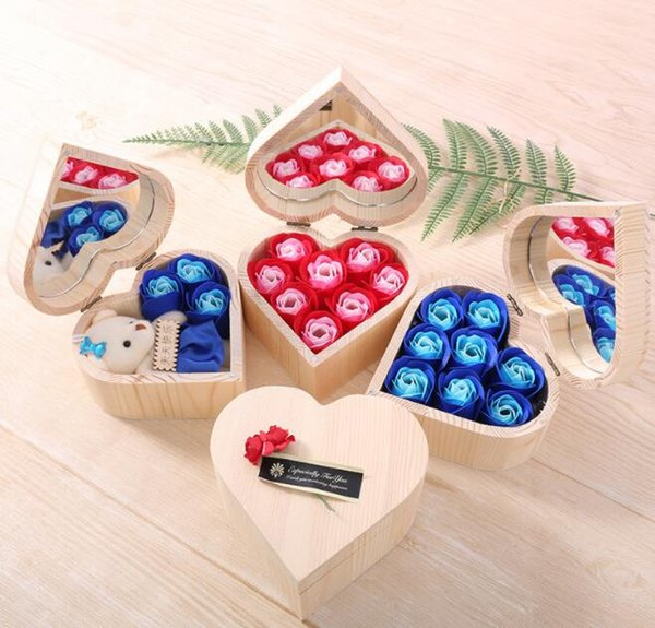 Heart Shape Wooden Box Rose Flower Colorful Bouquet Hand Made Rose Flower Soaps With Mirror Box For Valentine Day Gift GGA3062