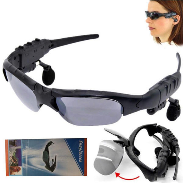 Handsfree Earphones Music Player With Retail Package Sunglasses Bluetooth Headset Sunglass Stereo Wireless Sports Headphone free shipping