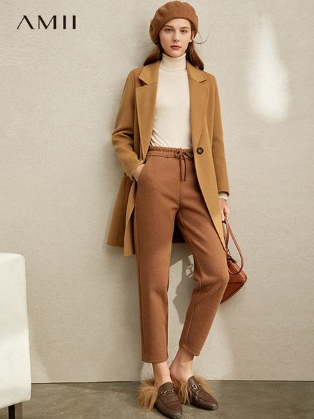 amii is very simple and retro british style wool double-sided tweed coat 2019 winter new loose lapel coat