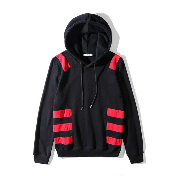 2019 autumn and winter new European tide simple patchwork red striped lovers wear men and women sets of hooded sweater coat