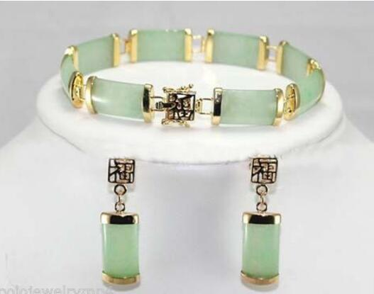Jewelryr Jade Set ^ Новые Ювелирные Изделия Натуральный Зеленый камень Браслет Серьги Набор Бесплатная Доставка