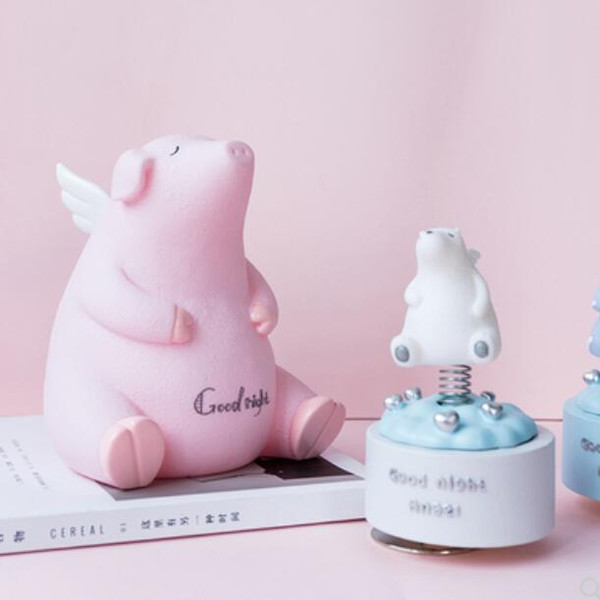 Creative cute animal rotating music box decorative ornaments ins girl heart bedroom bedside table piggy bank display