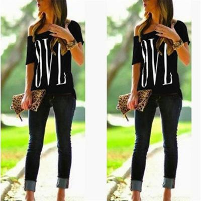 Womens Designer T Shirt 2019 Summer New Fashion Print Off-Shoulder Short Sleeve Casual Loose Letter LOVE Top Fashion Strapless Tees 16 Style
