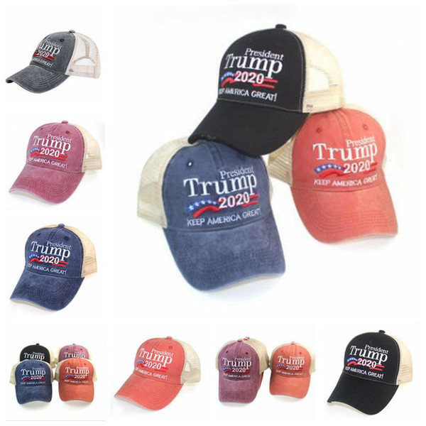 Baseball Caps Trump 2020 Designer Keep America Great Letter Hat Embroidered Washed Cloth Ball Cap Outdoor Travel Beach Hat Sun Hat YP7283