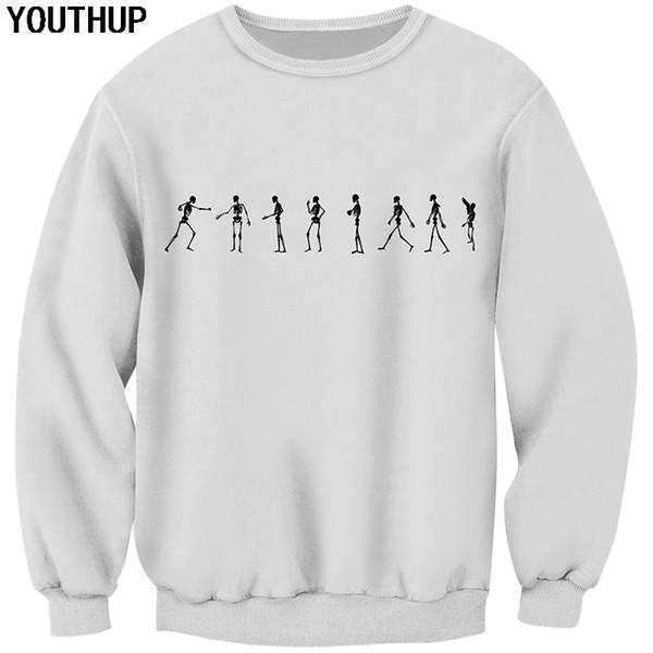 YOUTHUP 2019 Yeni Beyaz Erkekler Için Hoodies 3D Baskı Kafatası Hoodies Komik Tişörtü Erkekler 3d Kazak O-Boyun Tops Artı Boyutu Streetwear