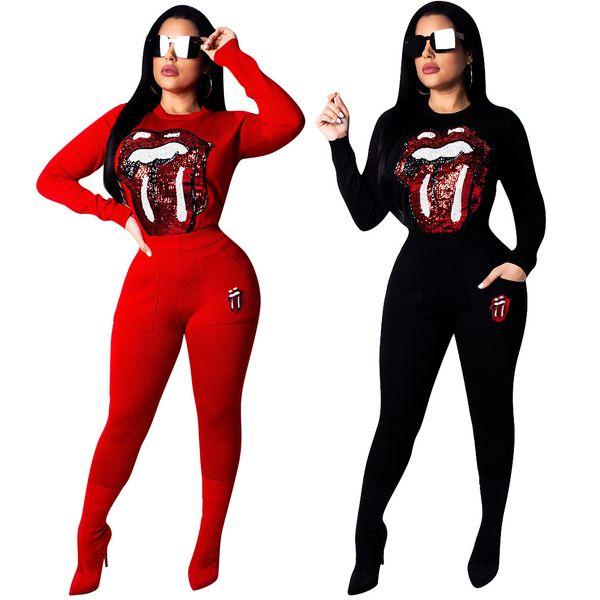 Kadın Sequins Eşofman Kırmızı Dudaklar Dil Rahat Kıyafetler Gevşek Ter Suit O-Boyun Uzun Kollu Eşleştirme Setleri 2 adet / takım OOA6975