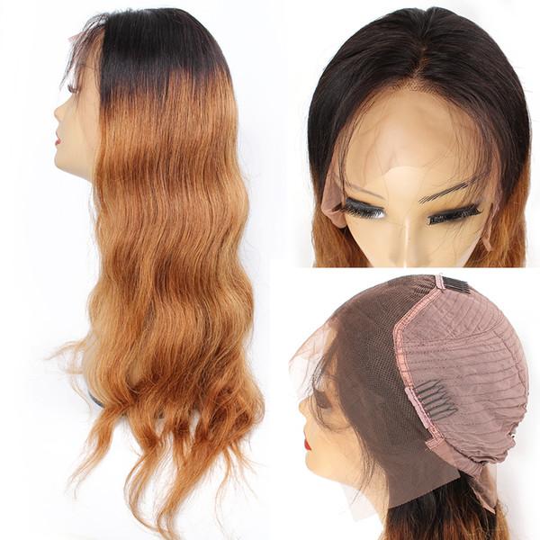 ÖPÜCÜK SAÇ T1B / 30 vücut dalga 4 * 13 dantel frontal peruk önceden boyalı 2 ton remy İnsan saç peruk Hint Brezilyalı saç dokuma