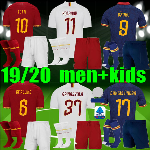 best selling adult Men Kids 19 20 AS maillot roma Soccer Jersey DE ROSSI DZEKO ZANIOLO rome 2019 2020 TOTTI PEROTTI boys football kits shirt
