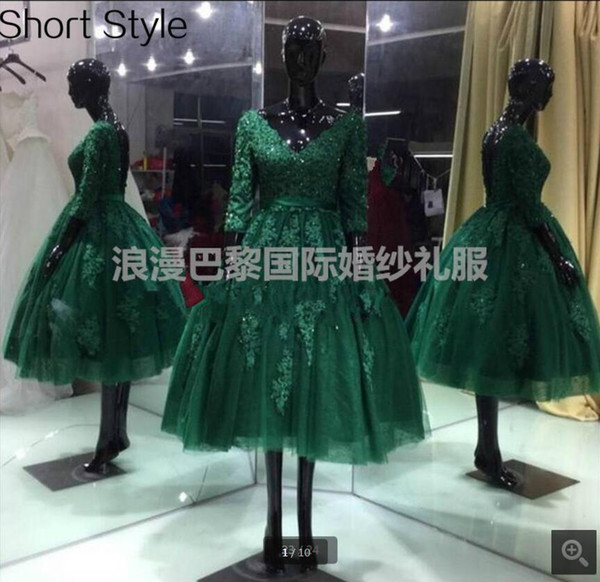 2019 real photo dark green lace ball gown prom dress short knee length with 3/4 sleeve vintage prom gowns petite girls dress hot sale