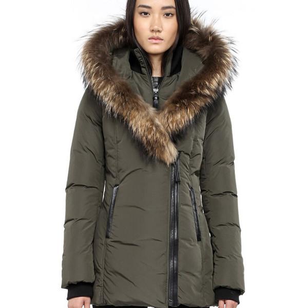 Women's Down Jacket Winter Warm Mac-Adali-F4 Down Parkas Brand Real Raccoon Fur Collar White Duck Outerwear Coats for Women With Fur Hood