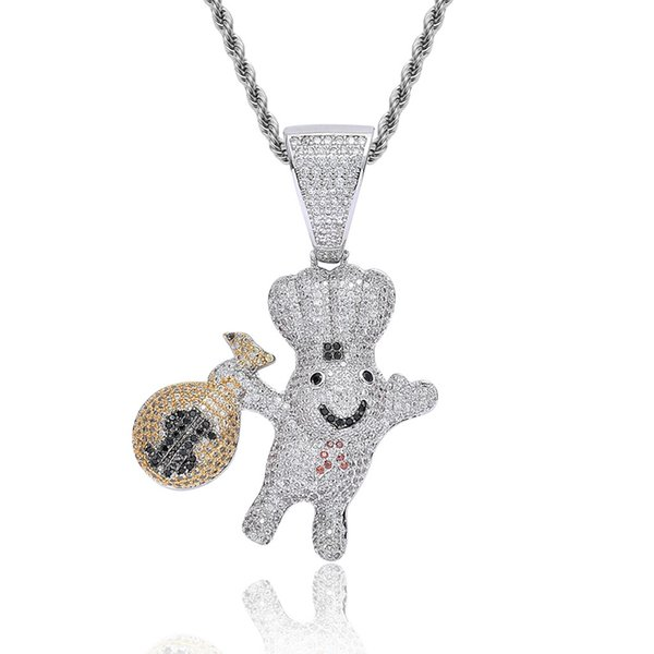 Silver Color Men's Hip Hop Moneybag Doll Pendant Necklace Inlaid Cubic Zirconia Charm Necklaces Party Gift Jewelry