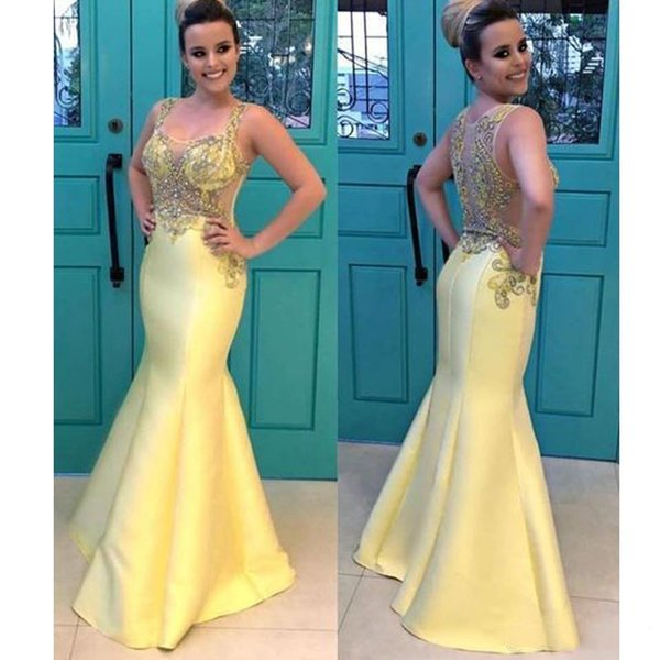 2019 New Yellow Mermaid Cheap Prom Dresses Shining Sequins Beading Evening Gowns See-Through Backless Vestido Formal Party Dresses