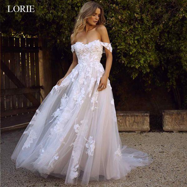 ЛОРИ кружевные свадебные платья 2019 с плеча аппликации линия платье невесты свадебное платье принцессы бесплатная доставка халат де мари