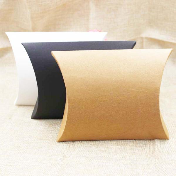 FeiLuanCustom yastık hediye kutusu kraft / siyah / beyaz karton kağıt şeker ambalaj kutusu mutli boyutu 200 adet başına lot özel logo maliyet ekstra