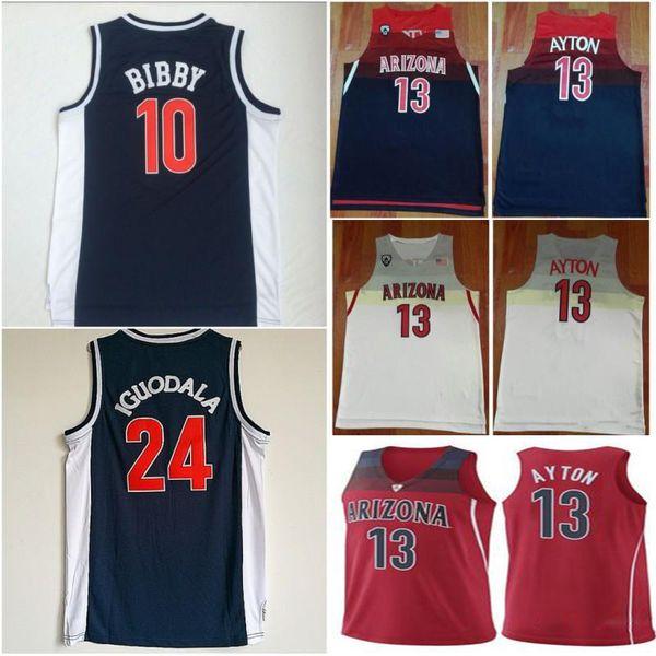 2019 NCAA Arizona Wildcats 13 DeAndre Ayton College Basketball Jerseys 24 Andre Iguodala 10 Mike Bibby Blue University Mens Shirts