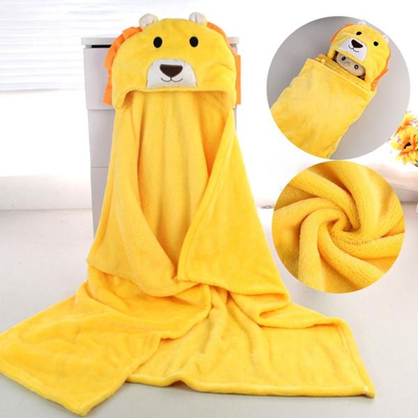 Baby Soft Hooded Animal Blanket Winter Thicken Cartoon Baby Velvet Warm Shawl Kids Bath Robe Infant Cloak