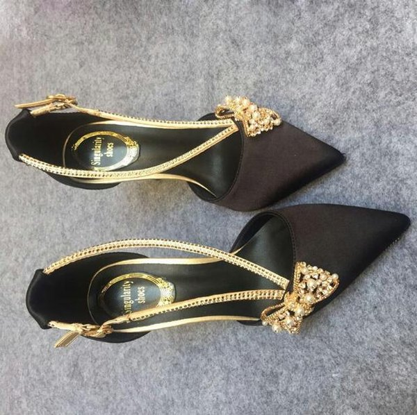 With Box Women Satin Summer Pointed Toes Pumps Bowtie Rhinestone Buckle Strap Shallow mouth Stiletto Women Prom Party Wedding Work Shoes