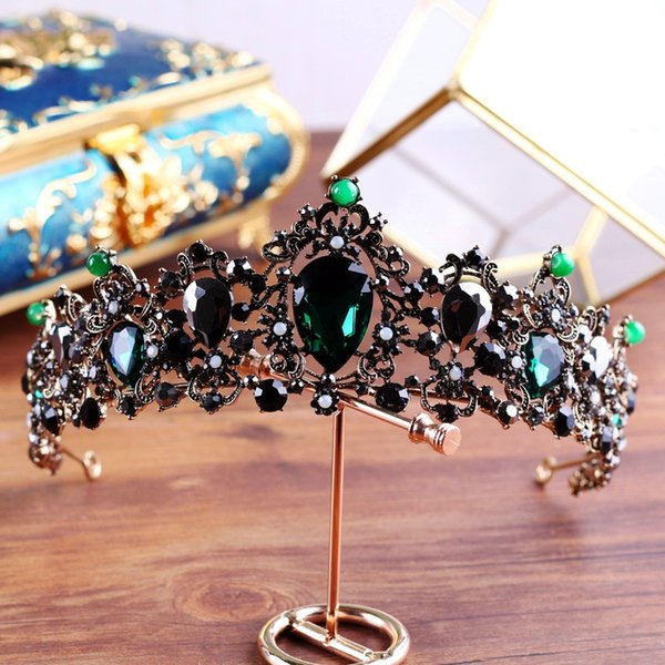 hair jewelry KMVEXO Baroque Bronze Black Green Crystal Bridal Tiaras Rhinestone Diadem Pageant Crown Brides Headbands Wedding Hair Jewelry