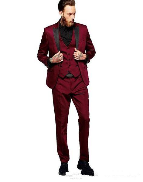 New Arrivals Burgundy Men Suits Peaked Lapel Slim Fit Tailor Made Groom Prom Tuxedos 3 Piece Blazer Jacket+Pants+Vest Terno