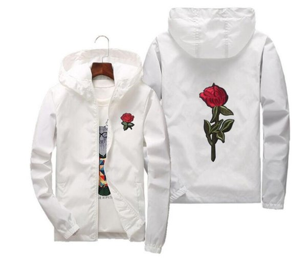 embroidery Rose Jacket Windbreaker Men And Women's Jacket New Fashion White And Black Roses Outwear Coat