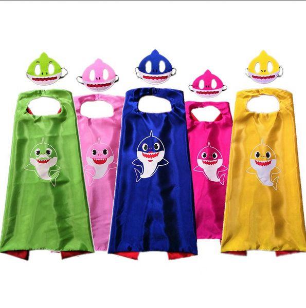 Fashion Baby Shark Cloaks Cartoon Girls Doll Mantello con maschera Set per bambini Mantello cosplay Halloween Xmas Party Supplies TTA951