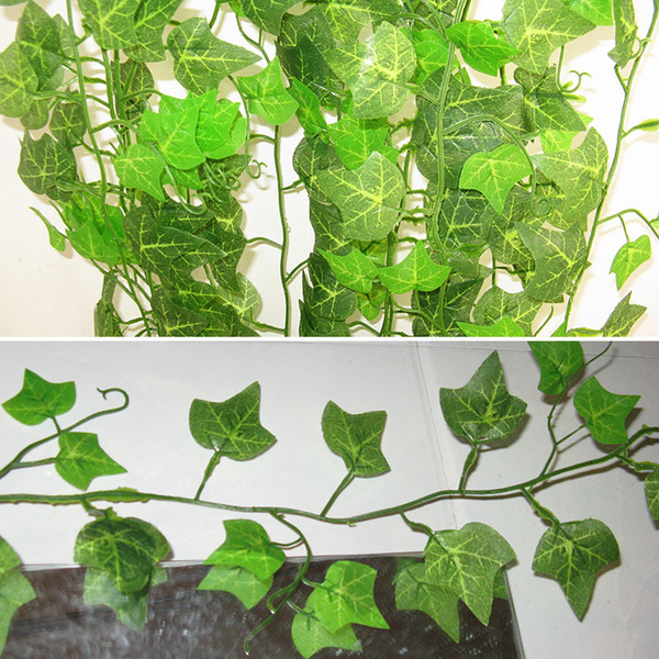 1pc 2.4M Plastic Artificial Flower Rattan String Artificial Ivy Green Leaf Garland Plants Vine Fake Foliage Flowers Home Decor