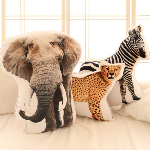 Tiger Cheetah Elephant Raccoon plush toys,3D stereoscopic Animal Pillow cushions,creative homelumbar support,seat cushion office