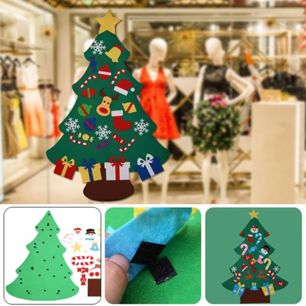 Diy Christmas Tree With Ornaments Kids Toys Felt Artificial Tree Children Christmas Gifts Xmas Decorations 3 Designs Yw1727 Decoration Of Christmas