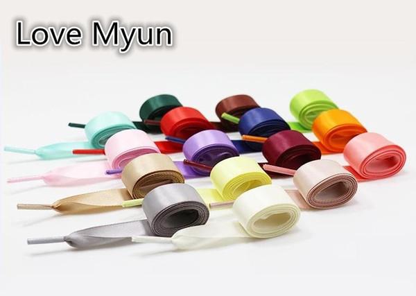 2cm Wide Flat Silk Ribbon Shoelaces Polyester Satin Shoelaces Sneaker Casual canvas Shoes Laces Wholesale 80cm 100cm 120cm 140cm