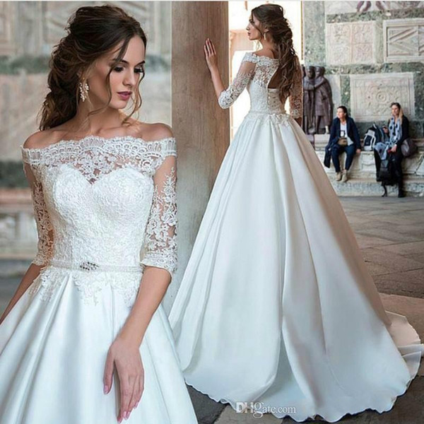 2020 Vintage Lace Половина рукава с плеча Свадебные платья Свадебные платья Турция Простые атласные платья невесты выполненные на заказ