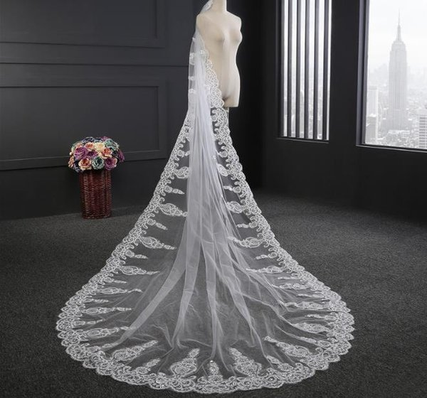 Luxury Crystals Cathedral Wedding Veils Lace Applique One Tier White Ivory Bridal Hair Accessories Beads Long 2019 Bride Veil