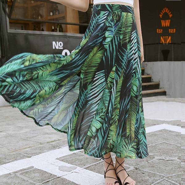 Taille haute Boho Sexy Jupe Longue Femmes Split Maxi Jupes Plante Verte Imprimer Beach Holiday Femelle Vintage 2019 Été Floral Jupe S19715