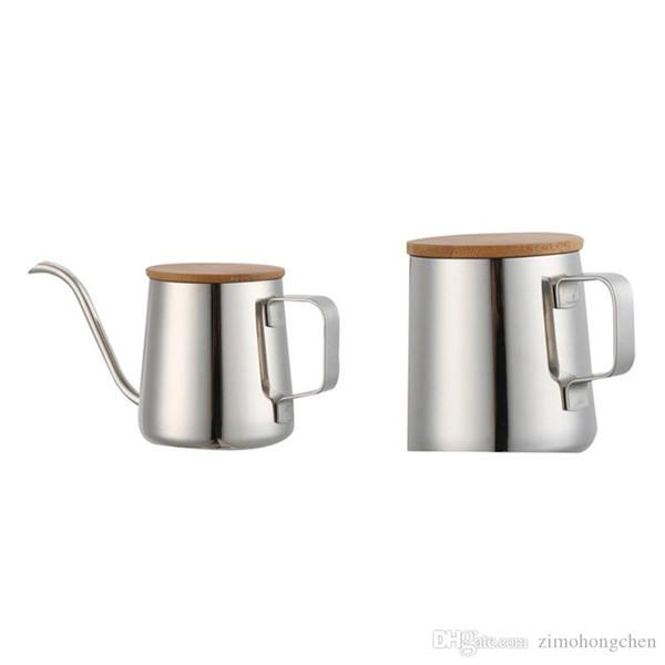 Long et étroit Spout Coffee Pot Gooseneck bouilloire goutte à goutte à la main en acier inoxydable bouilloire 2020 nouvelle Verser sur café et le thé Pot avec 350ml en bois