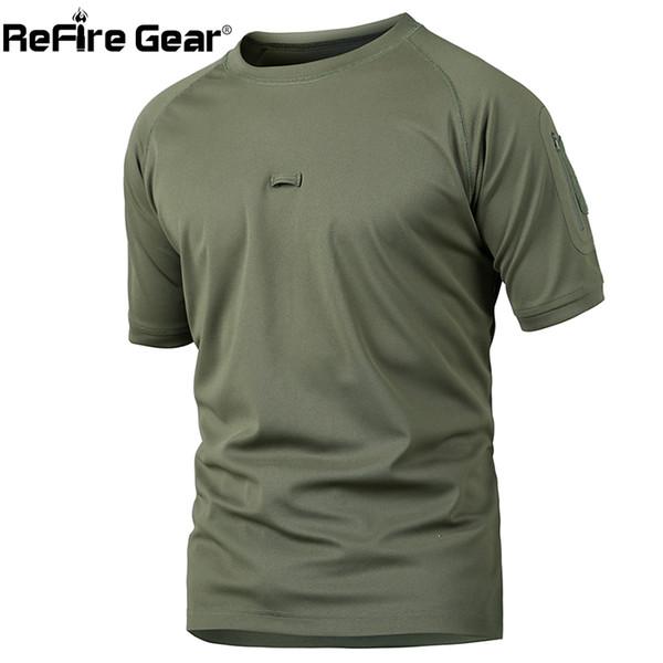 Refire Engrenagem de Verão Tático Camuflagem T Shirt Homens Quick Dry T-shirt de Combate Do Exército Respirável Camo O Pescoço Militar T Shirt Y190413