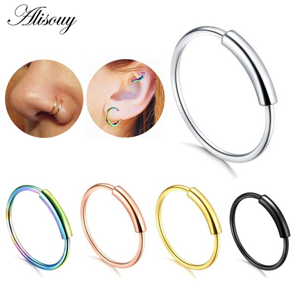 Alisouy 1pcs 22g Steel Hinged Clicker Seamless Piercing Nose Ring Hoop Lip Ear Ring-6/8/10mm Body Jewelry Piercing Clip Gift
