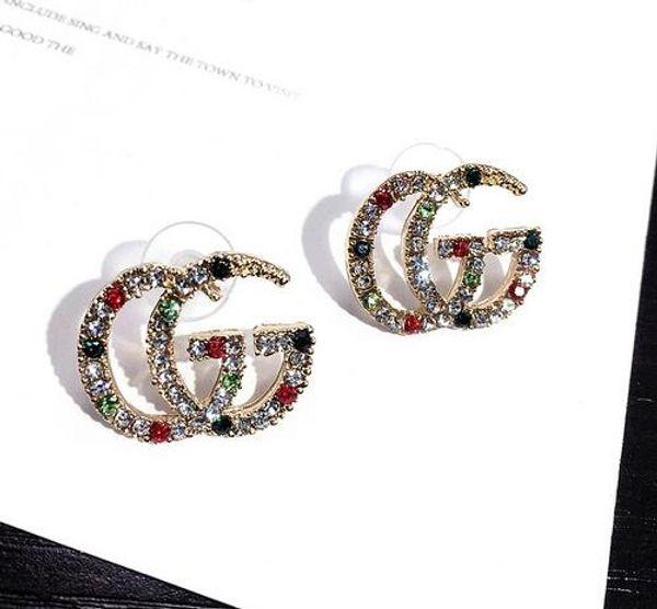 top popular 344 Wholesale Double Layers Earrings Letters Dangle Drop Pearl Earring Gold Silver Ear Studs For Women Wedding Party Jewelr 2019