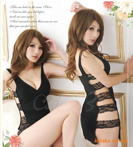 sexy lingerie black stripper lace side sexy hollow sleepwear dress