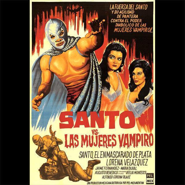 Santo vs The Vampire Mulheres - Custom Movie T-Shirt - [A40] - Tamanhos S até 5X top frete grátis t-shirt