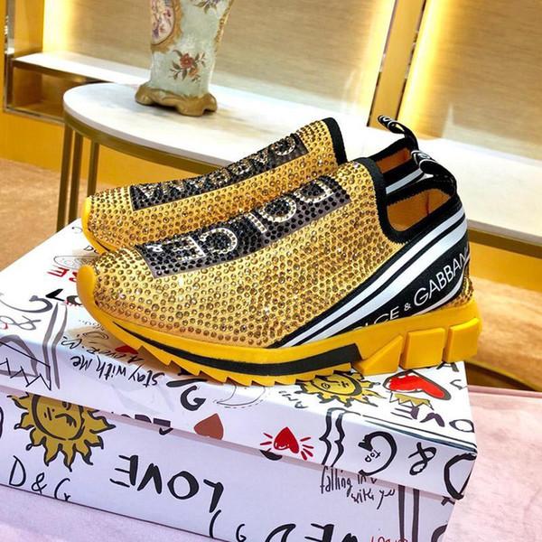 luxeconcepteur 2020 nouvelle arrivée chaussures des hommes de mode de luxe de tennis bas aide chaussures chaussette extensible en maille élastique Lettre strass Respirant