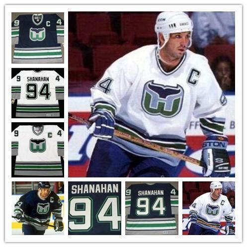 Benutzerdefinierte 94 BRENDAN SHANAHAN Hartford Whalers Nostalgie Hockey Trikots Retro 1995 CCM Vintage Eishockey genäht Mens Jersey