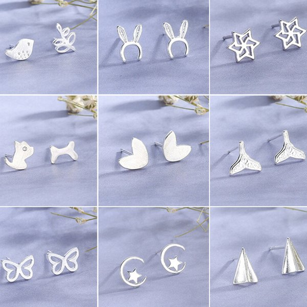 Cadeau Pour Les Femmes Casual Réel Mignon Argent Brossé Creux Triangle Stud Boucles D'oreilles Bijoux De Mode Accessoires