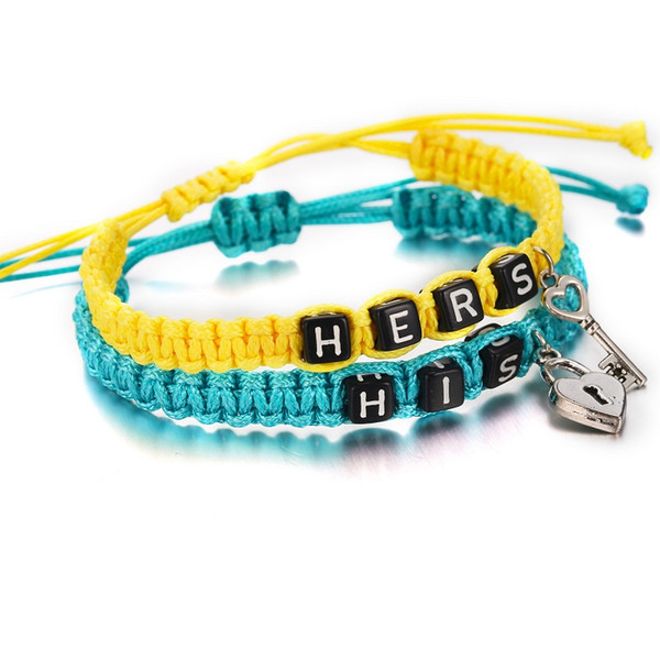 2pcs/pair Couple Rope Weaving Bracelets Hers His Letters Key Lock Rope Chains Lovers Gift Handmade Charm Bracelets Accessories Jewelry Cheap