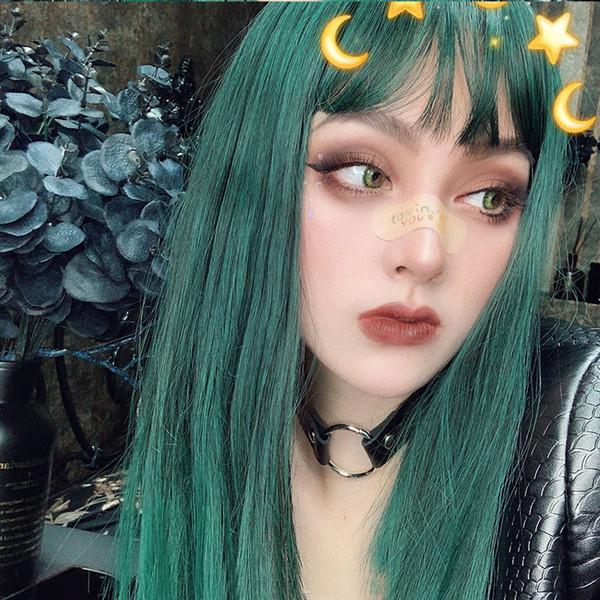 Direto da fábrica vento tingido peruca feminino ar bangs verde longo e reto cabelo de alta temperatura capa de fibra química de seda