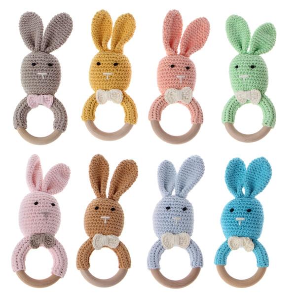 Brinquedo Sensorial recém-nascido Bebê Teether De Madeira Pulseira Crochet Bunny Anel De Dentição Mastigar Brinquedo Teething Bracelet Shower Presente