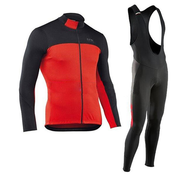 NW 2019 Men cycling Jersey set long Sleeve Bike Cycling Maillot Bike Shirt Bib Pants Spring and autumn Outdoor clothing