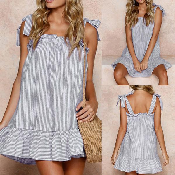 Women Dress Summer Sexy party dress Print Striped Beach Women Clothing Linen Sling Sleeveless Mini Dress 2018