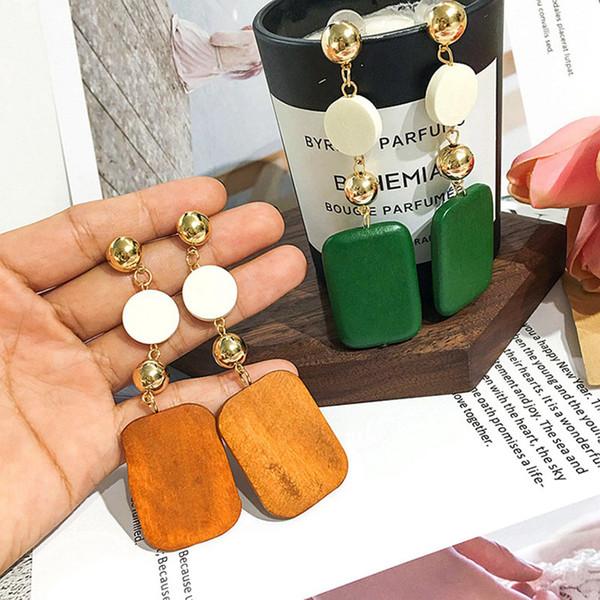 Round Wood Earring Square Dangle Drop Earrings For Women Wedding Bohemian Drop Earrings Hot Sale Brincos Long Earrings Bijoux 3pcs Randomly