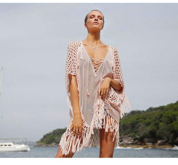cb4f50f9ae3 Women Swimsuit Cover Ups Sexy Kaftan Beach Tunic Dress 2019 Summer Robe De  Plage Solid Cotton